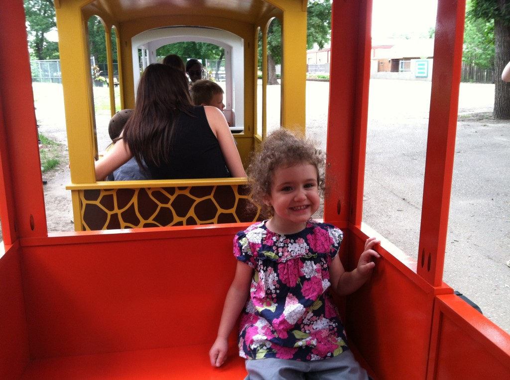 Riding the train at the zoo.