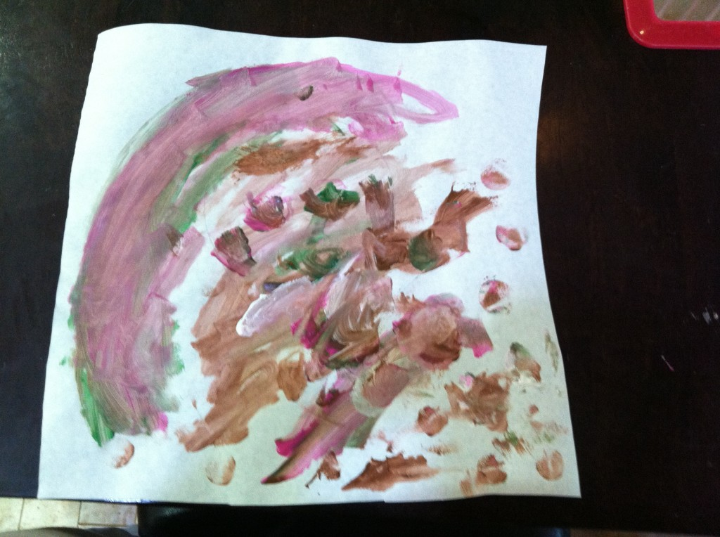 The finished product. Obviously, my child is much more drawn to abstract art than realism!