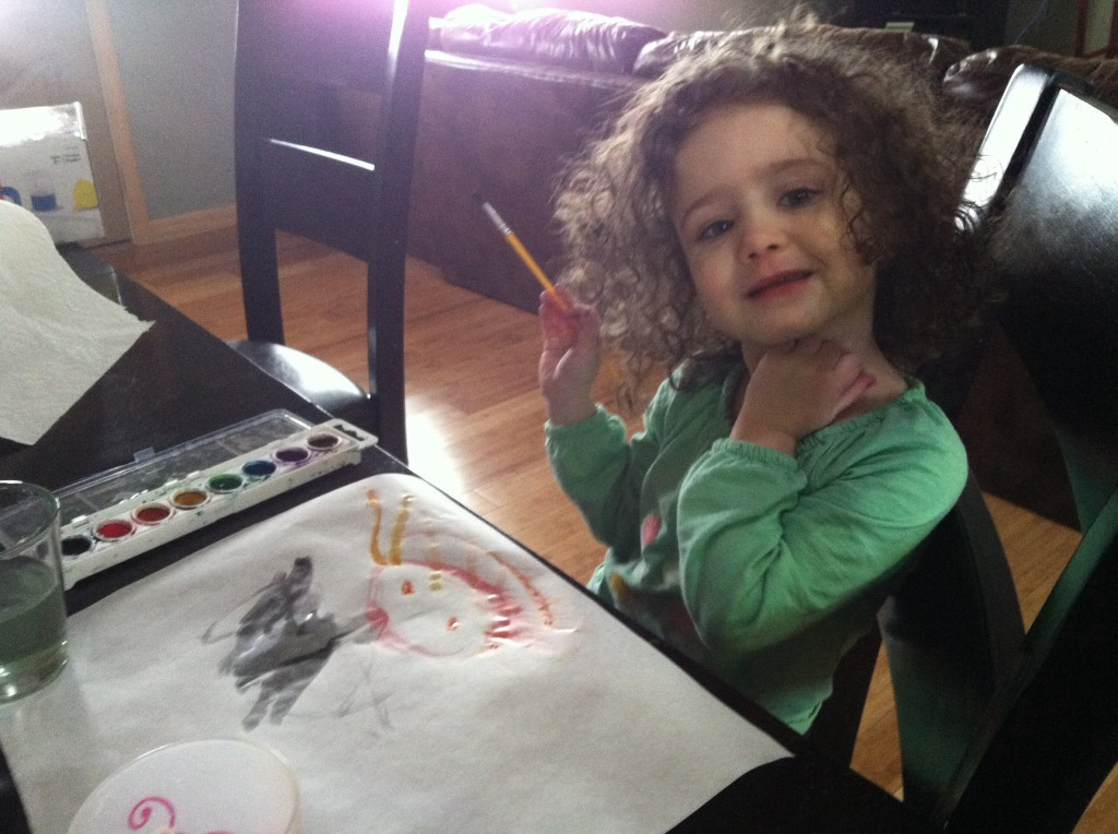 "Curly is definitely more into art than me. I remember quickly becoming bored with art as a preschooler. Not Curly! If she had a mantra, I think it might be something like ""Art is Life!""."