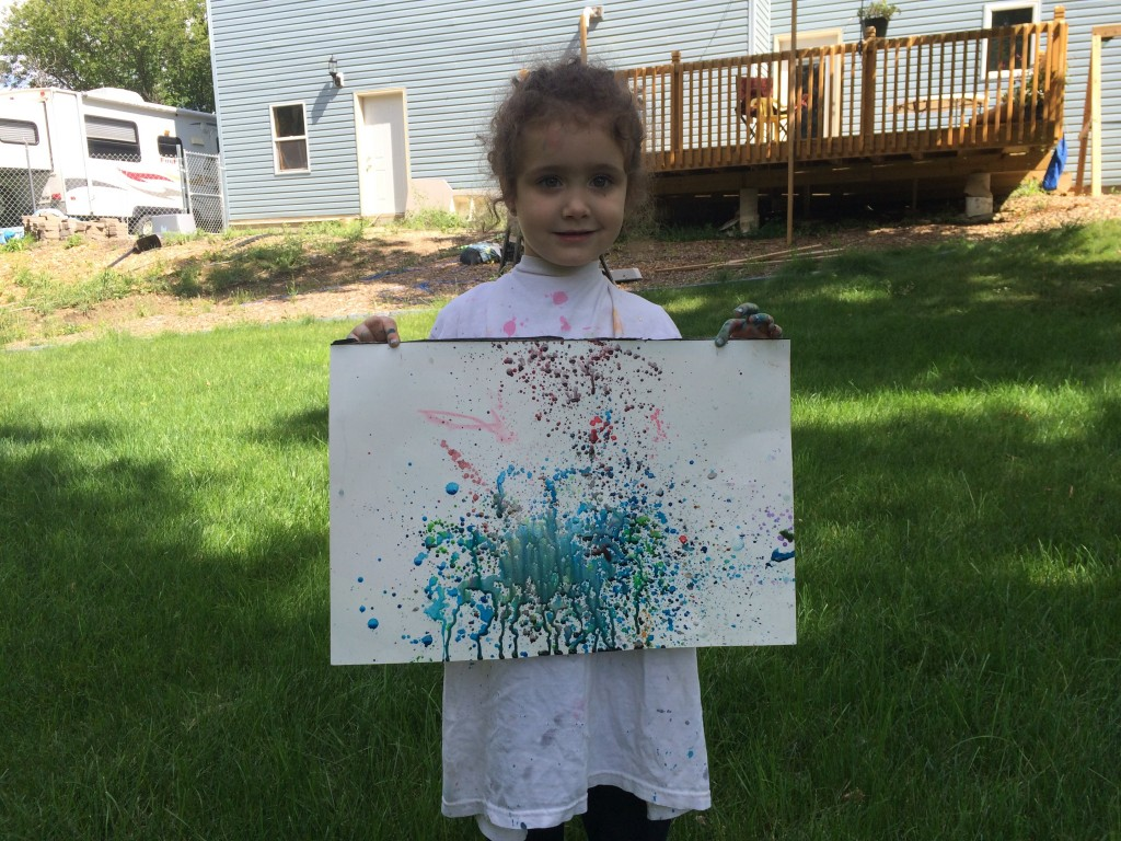 The finished splatter painting project.